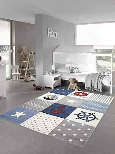 Kinderteppich Spielteppich Junge Teppich Maritim kariert in blau Creme grau Größe 140x200 cm