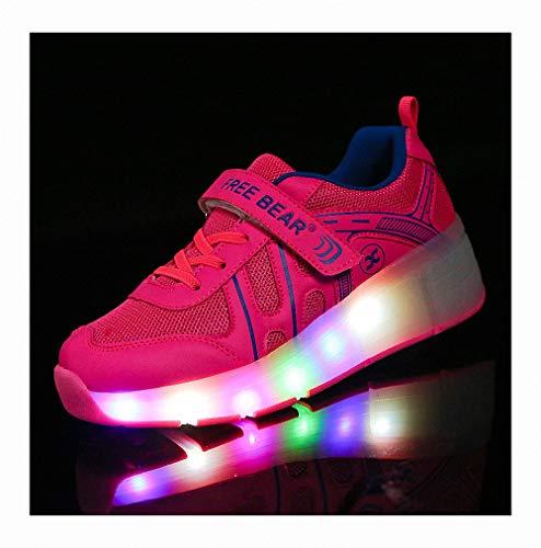 Miarui Kinder Led Roller Schuhe Sneakers mit Rollen Unisex-Kinder Skateboard Schuhe Ultraleicht für Kinder Jungen Mädchen,Rosa,38