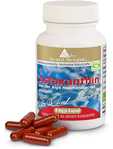 Astaxanthin nach Dr. med. Michalzik, 100{17f83c6c5c6b86d7ac7e977dbcb03acfd0d63ce1d9051530c4f656e934dd2a09} pflanzlich ohne Zusatzstoffe, 400 mg Algen-Extrakt aus Haematococcus pluvialis, 4 mg reines Astaxanthin (mit HPLC-Analyse gemessen) je Kapsel, 60 vegane Kapseln - ohne Zusatzstoffe - von BIOTIKON®
