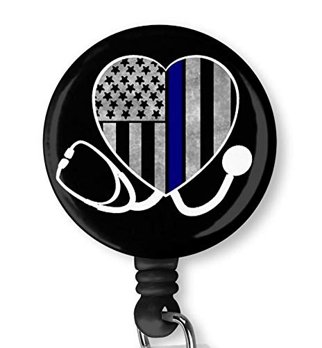 Thin Line Flag Heart for Nurse Retractable ID Card Badge Holder with Alligator Clip Name Nurse Decorative Badge Reel Clip on Card Holders