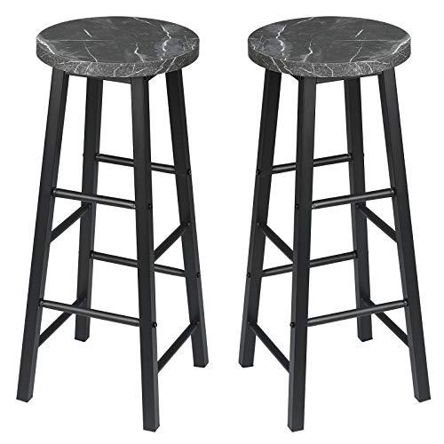 EUGAD Set di 2 Sgabelli Alti da Bar Moderni Sedia con Poggiapiedi per Cucina Colazione Telaio in Metallo Altezza 71 cm Marmo Nero 0653BY-2