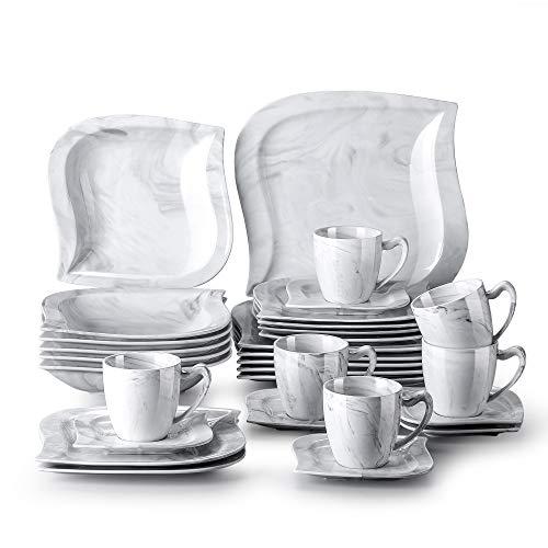 MALACASA, Serie Elvira, 30 TLG. Marmor Porzellan Geschirrset Kombiservice Tafelservice mit Tassen, Untertassen, Dessertteller, Suppenteller und Flachteller für 6 Person