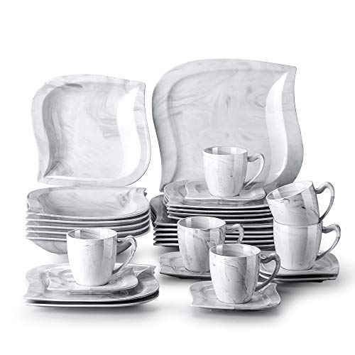MALACASA Marble Gray Dinner Sets, 30-Piece Porcelain Dinnerware Set, Serving Dish Plates and Bowls Set, Dinner Plate, Dessert Plate and Salad Pasta Bowl, Cup and Saucer, Service for 6, Series Elvira
