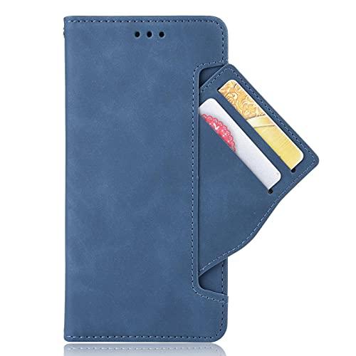 KERUN Leder Folio Hülle für Motorola Moto Edge 20 Lite Brieftasche Lederhülle, Premium PU+TPU Flip Cover Hülle Schutzhülle mit Ständer Funktion/Kartensteckplätzen/Magnetic Snap, Blau