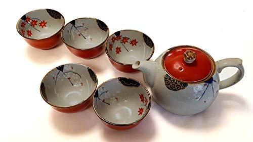 Japanisches Teeservice SHUMAKI Geschenkset hergestellt in Japan Teekanne 600 ml, Teeschalen Ø 9 cm