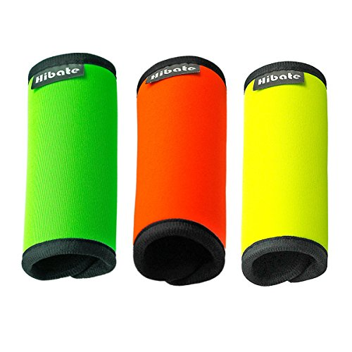Hibate Comfort Neoprene Luggage Handle Wraps Suitcase Grips Tag - Fluorescent Colour, Pack of 3