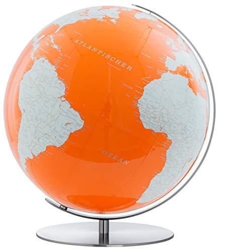 COLUMBUS ROYAL Standglobus, Durchmesser 60 cm: handkaschiertes Kartenbild auf Acrylglas-Kugel, Edelstahlausführung, Licht dimmbarhochglanzpoliert