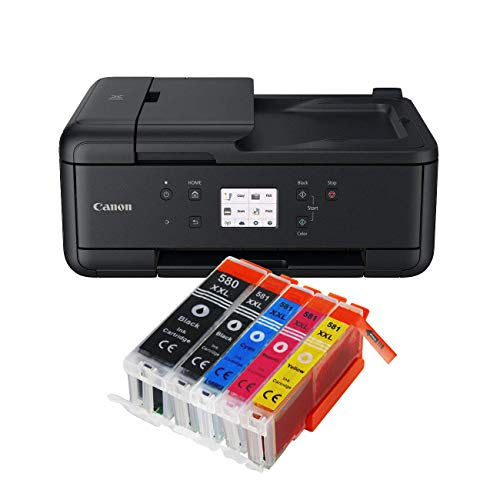 Canon Pixma TR7550 TR-7550 All-in-One Farbtintenstrahl-Multifunktionsgerät (Drucker, Scanner, Kopierer, USB, WLAN, Apple AirPrint) Schwarz + 5er Set IC-Office XXL Tintenpatronen 580XXL 581XXL