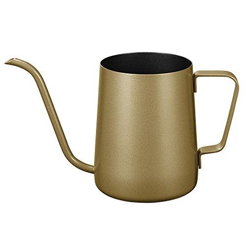 Kaffeekanne mit Schwanenhals und langem schmalen Ausguss, Edelstahl 350ML gold