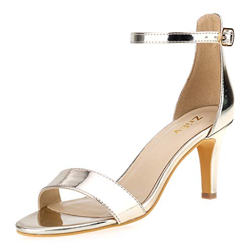 ZriEy Women's Heeled Sandals 3 Inches Strappy Gold Open Toe Stiletto High Heels Mid Heels Ankle Strap Fashion Bridal Party Wedding Pump Shoes Size 10