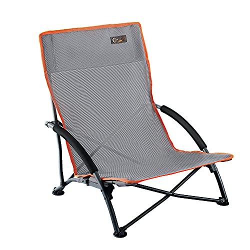 PORTAL Silla de Camping Plegable Low Beach Apoyabrazos Acolchado para Exteriores Ligero Plegable con Bolsa de Transporte Gris