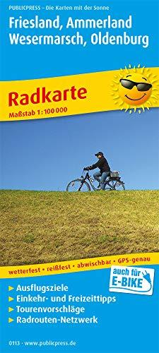 Friesland, Ammerland, Wesermarsch, Oldenburg: Radkarte mit Ausflugszielen, Einkehr- & Freizeittipps, wetterfest, reissfest, abwischbar, GPS-genau. 1:100000