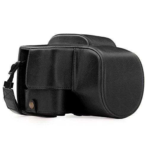 """MegaGear La custodia in pelle per fotocamera """"sempre pronta"""" - Facile da installare, con treppiede e accessori periferici - Compatibile con Panasonic Lumix DC-FZ80, FZ82 (Nero)"""