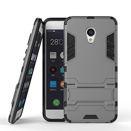 pinlu Funda para Meizu MX6 bicapa Mixto Antideslizante Cover Phone Shell con Soporte Función Anti-arañazo Caja de Teléfono Gris