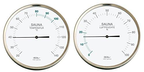 Fischer sauna thermometer + hygrometer in set, roestvrij staal 130 mm
