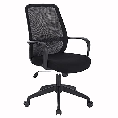 WOLTU BS116sz Bürostuhl ergonomischer Drehstuhl Computerstuhl Schreibtischstuhl Arbeitsstuhl Mesh PC Stuhl höhenverstellbar mit Armlehnen Lendenwirbelstütze Wippfunktion, Schwarz