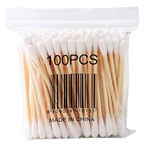 Serria Coton Tiges 2 Paquets 200 Pièces pour Soins de Nettoyage des Oreilles Soin des Blessures Outil Cosmétique Double Tête, Écouvillon en Bambou