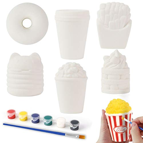 LovesTown Squishy Making Kit, 6 Pcs DIY Squishies Slow Rising Jumbo Food DIY Dessert Toy Paint Your Own Squishies for Birthday Gifts