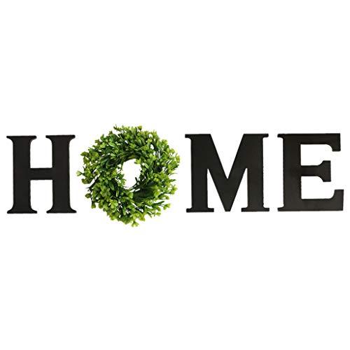 Baoblaze Decoración de madera de amor para el hogar, letras de madera para el hogar con guirnalda de sándalo Artificial decorativa para sala de estar, granja - Negro