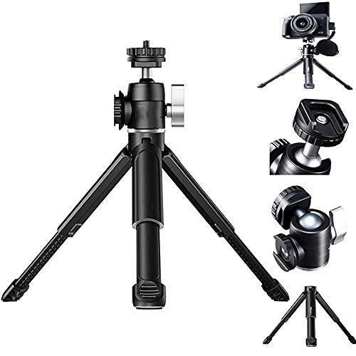 HAFOKO U-Vlog Lite Mini Smartphone Treppiede da Tavolo Estendibile Doppio Attacco a Testa Sferica per Luci LED/Microfono compatibile con A6600 DSLR Fotocamera Vlog (capacità carico 2 kg)