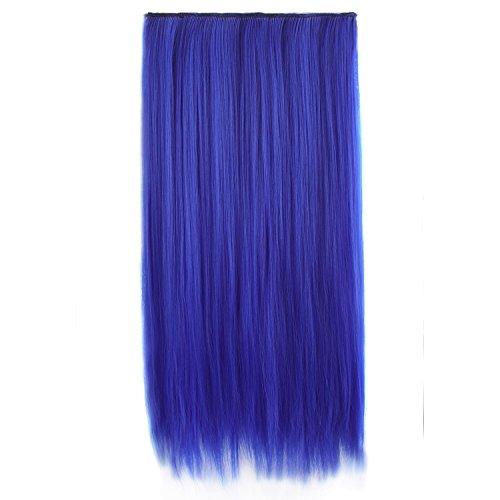 MapofBeauty 23' 58cm Multi-color Long Straight 5 Clip Hair Extension Hair Hairpiece (Royal Blue)