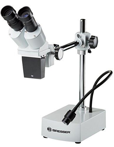 Bresser Auflicht Stereo Mikroskop Biorit ICD-CS 10x/20x Vergrößerung, mit sehr großem Arbeitsabstand und flexibler LED-Beleuchtung, optimal für Lötarbeiten