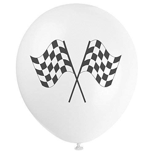 Robelli Haute Qualité Ballons en Latex - À Carreaux Drapeau Grand Prix Set - Multicolore, 45