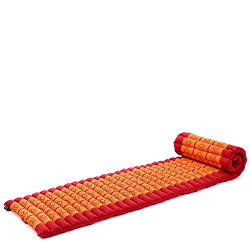 Leewadee Rollbare Thai Matte, 200x50x5 cm, Platzsparende Gästematratze für 1 Person Yogamatte Massagematte Ökologisches Naturprodukt, Kapok, orange rot