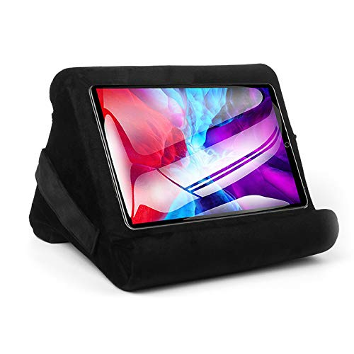 Folding Triangular Durable Flat Bracket Multi-Angle Soft Support Pillow Lap Stand, with Small Pockets for iPad, Electronic Book Reader and Tablet
