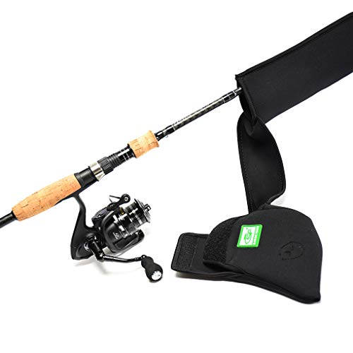SF Fishing Rod Sleeve Cover Rod Socks Black Better Cover Spinning Reel Cover Protector 7′-7′3″ Rod and Up to 3000 Reel Combo Tools for Spinning Sea Fishing Rod