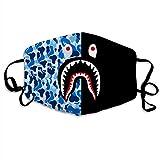 LKCDNG Comode decorazioni facciali regolabili per donna e uomo, Bape Shark-1