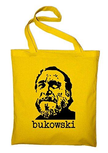 Styletex23 Charles Bukowski Buk Jutebeutel Baumwolltasche, gelb