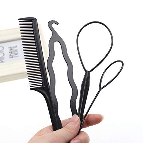 Jinxuny 4pcs / Set Accessoires pour Cheveux Styling Clip Bun Maker Hair Twist Braid Ponytail Hairdressing Tool (Style : 01# - 4pcs/Set(The Set with Co