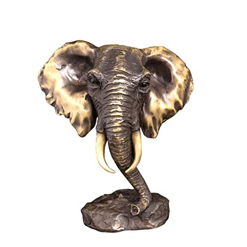 ZLBYB Bronce Thai Elephant Head Busto Estatua Escultura Animal Figurine Feng Shui...