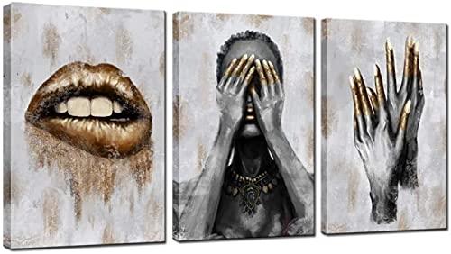 SXXRZA Lienzo Arte de Pared 3 Piezas 50x70cm Sin Marco Mujer Negra con uñas de Labios Doradas Impresiones para Sala de Estar Decoración de salón de Belleza Arte contemporáneo Gris y Dorado
