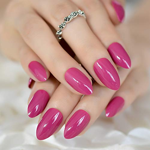 Ruby Pink Stiletto Press on Nails Long Ballerina False Nail - Tips 20 pcs Full Cover Acrylic fake Nails 10 Sizes