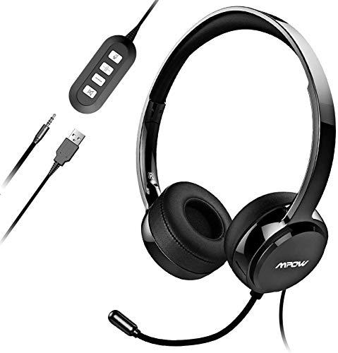 Mpow USB Headset mit Mikrofon, 3,5mm Klinke PC Headset für entspanntes Gaming, e-Learning und Musik, Headset Handy mit Noise-Cancelling-Mikrofon,Telefon Business Soft Headset Skype Phone Call Center
