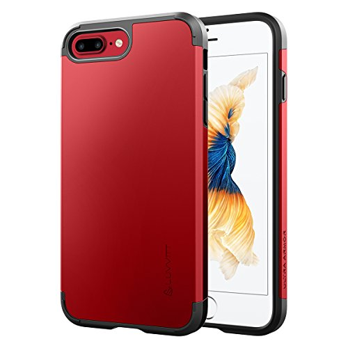iPhone 8 Plus Case, LUVVITT [Ultra Armor] Shock Absorbing Case Best Heavy Duty Dual Layer Tough Cover for Apple iPhone 8 Plus (2017) - Red