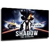 Sonic The Hedgehog - Pintura al óleo para decoración de pared del hogar, película sónica, juego de vídeo enmarcado listo para colgar, 91 x 61 cm