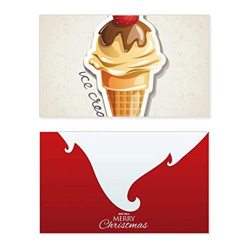 Weihnachtskarte mit Erdbeer-Motiv, Schokolade, Süßigkeiten-Eistüte