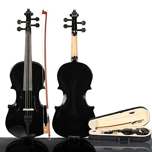 LOIKHGV Violini- Set Violino Acustico Nero 3/4 Dimensioni Violino Violino con Custodia per TrasportoFioccocolofonia per 9-12 Anni Bambini Principianti Bambini, Come Mostrato