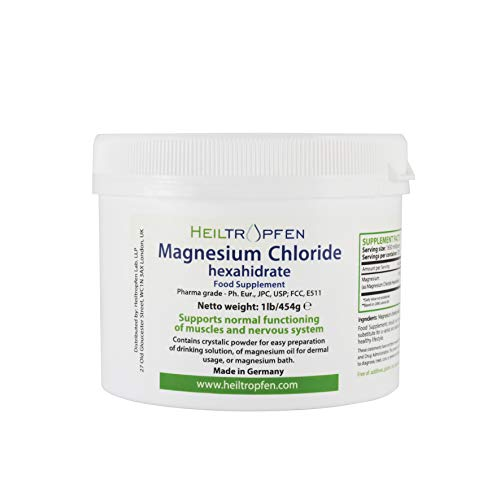 Magnesium Chloride 1 Pound - 454 g | Hexahydrate | Pharmaceutical Grade | Crystal Powder | Pure Ph. Eur, BP, USP, 100% Edible - Muscle Pain Relief | Heiltropfen