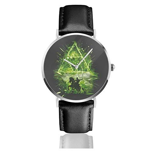Unisex Business Casual Triforce Storm Legend of Zelda Uhren Quarz Leder Uhr mit schwarzem Lederband für Männer Frauen Junge Kollektion Geschenk