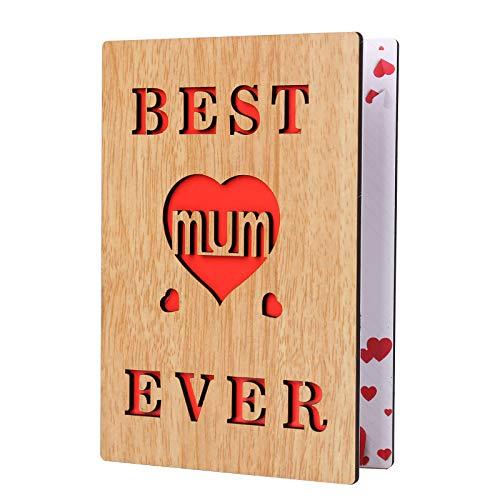 """Geburtstagskarte für Mütter, Muttertagskarte, Aufschrift \""""Best Mum Ever\"""", Holzkarte, Grußkarte für Mutter"""