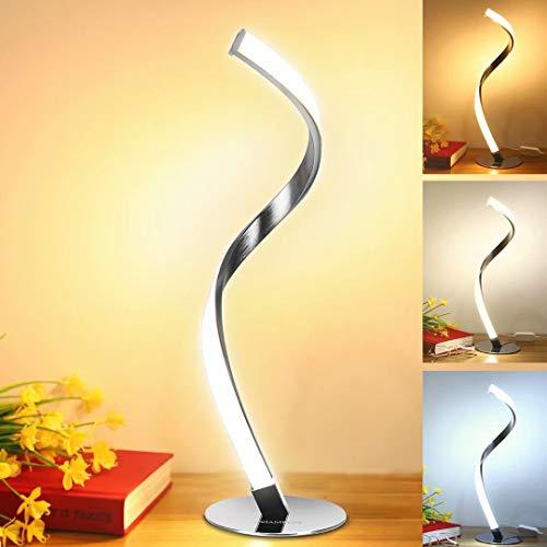 Modern Spiral Table Lamp for Living Room, LED Brightness Dimmable Bedside Lamp for Bedrooms, Silver Desk Lamp Nightstand Lamp 3 Colors 3000K 4000K 5000K Warm Natural Cold White Light Decoration