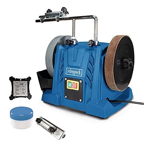 Scheppach Nass-Schleifsystem TIGER 5000S (Nass-Schleifmaschine | 150W Induktionsmotor, Schleifstein aus Edelkorund mit Ø 200mm, Universalvorrichtung | Abziehpaste | Lederabziehscheibe | Winkellehre