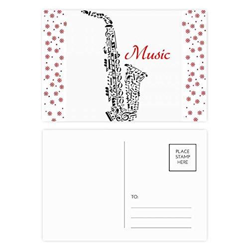 Saxophon Klassisches Musikhören Illustrate Weihnachten Blume Postkarte Dankeskarte Mailing 20 Stück