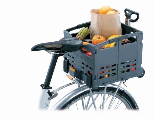 """Topeak TrolleyTote Folding MTX Rear Bike Basket, Grey, Black, 35.8 x 34 x 14.2 cm / 14.1"""" x 13.4"""" x 5.6"""" (Folded) 44.3 x 35.8 x 34 cm / 17.4"""" x 14.1"""" x 13.4"""" (Open)"""