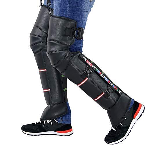 Kniebeschermers voor motorfiets dik kniebeschermers koud leer winter warm beenwarmers leggings voering van bont winddicht waterdicht kniebescherming voor dames en heren zwart