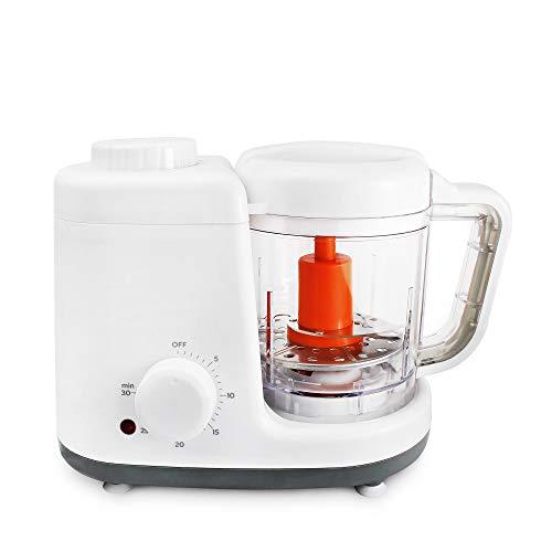 Leogreen - Robot Alimentos para Bebés, Licuadora de Alimentos para Bebés, Blanco/Gris, Función: Vaporera y Licuadora 2 en 1, Voltaje: 220-240 V